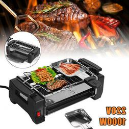 1000W Electric Smokeless Grill Non-Stick BBQ Plate Portable