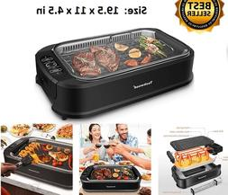 1500W Smokeless Grill indoor with Tempered Glass Lid, stick