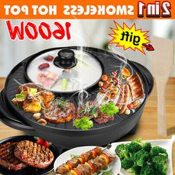 2 In 1 Electric Barbecue Hotpot Oven Grill Smokeless Hot Pot