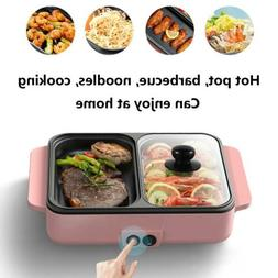 2 in 1 Electric Hot Pot Barbecue Grill Non-Stick Smokeless B