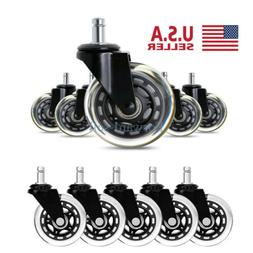 """5-Pack 3"""" Office Chair Casters Heavy Duty Hard Wood All Floo"""