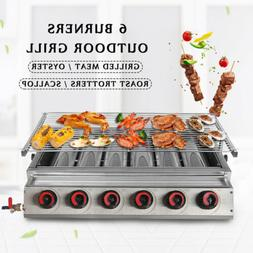 6-Burners LPG Gas BBQ Grill Outdoor Tabletop Cooker Stainles