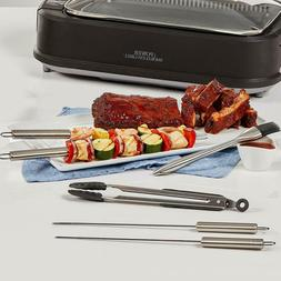 Power Smokeless Grill 6-Piece BBQ Accessory Set Tongs/Bastin