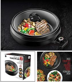 AS SEEN ON TV Smokeless Indoor Electric Grill Pot + Lid 1200