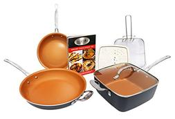 Copper Chef 7-Piece Cookware Set Heavy Duty Pan Glass Lid &