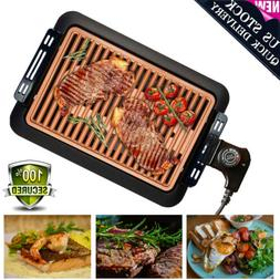 Electric Smokeless Grill Griddles Non-Stick BBQ Plate Portab