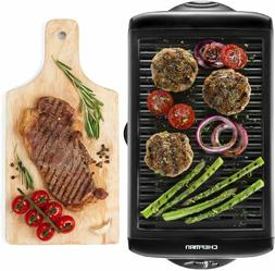 electric smokeless indoor grill griddle w non