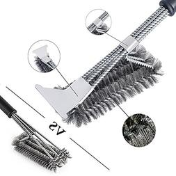 LISAQ Grill Brush Cleaning Scraper 3 In 1 Stainless Steel Ru
