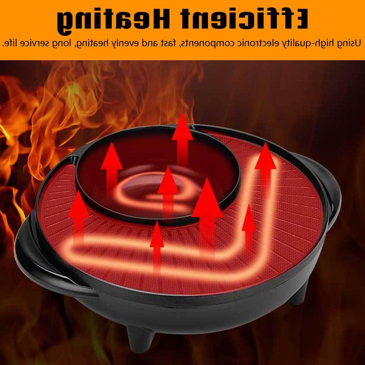 2 in 1 1600W <font><b>Electric</b></font> BBQ <font><b>Smokeless</b></font> Nonstick Equipment Roasted Barbecue Pan
