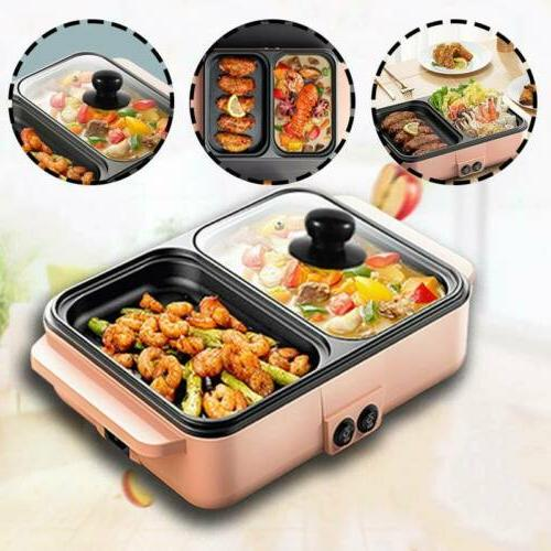 2 Hot Pot Barbecue Non-Stick Smokeless Cooking