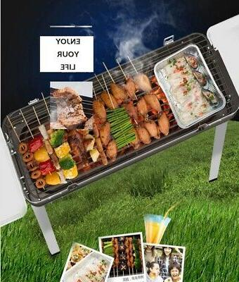 New Smokeless Fold Barbecue Charcoal Grill Shish Kebab Stainless Steel