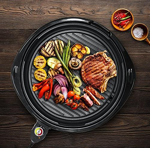 Maxi-Matic EMG-980B Electric Nonstick Surface, Faster Heat Up, Ideal Low-Fat to Clean Design, Includes Glass Lid, Black