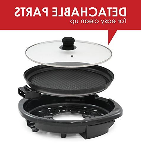 """Maxi-Matic EMG-980B Electric Round Nonstick Surface, Heat Ideal Meals, to Clean Glass 14"""" Diameter Black"""