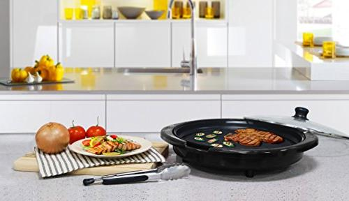 """Maxi-Matic Electric Surface, Faster Heat Ideal Low-Fat Easy to Design, Glass Lid, 14"""" Black"""