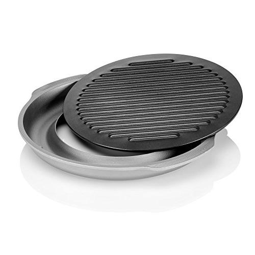 TECHEF - GRILL PAN Nonstick Indoor/Outdoor Grill Set, including a Plate and Aluminum Tray