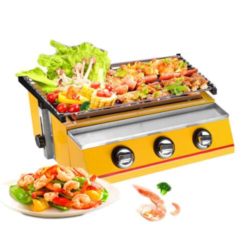 BBQ Grill Gas Portable Smokeless Camping Barbecue Cooker Outdoor Cooking Steel