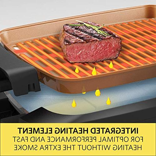 BELLA Inch Indoor Smokeless Grill Skillet with Copper Nonstick