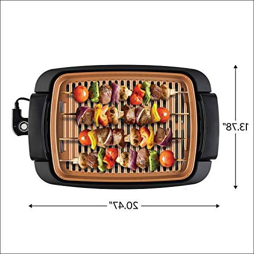 BELLA 12 Inch Copper Coated Indoor Smokeless Grill Grill Skillet Copper Cooking Surface