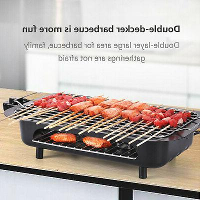 Electric Grill BBQ Griddle Pan Non Stick Barbecue Smokeless