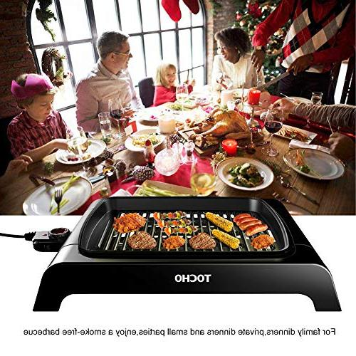 "Electric Indoor Grill, Heating Smokeless Table 12""×16""Non-stick Party/Home, Fish, & Low-Fat Meals Certified"