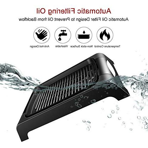 Electric Smokeless Grill, Grilling Surface, to Clean BBQ Party/Home, For Meat, Fish, Vegetables Meals Certified