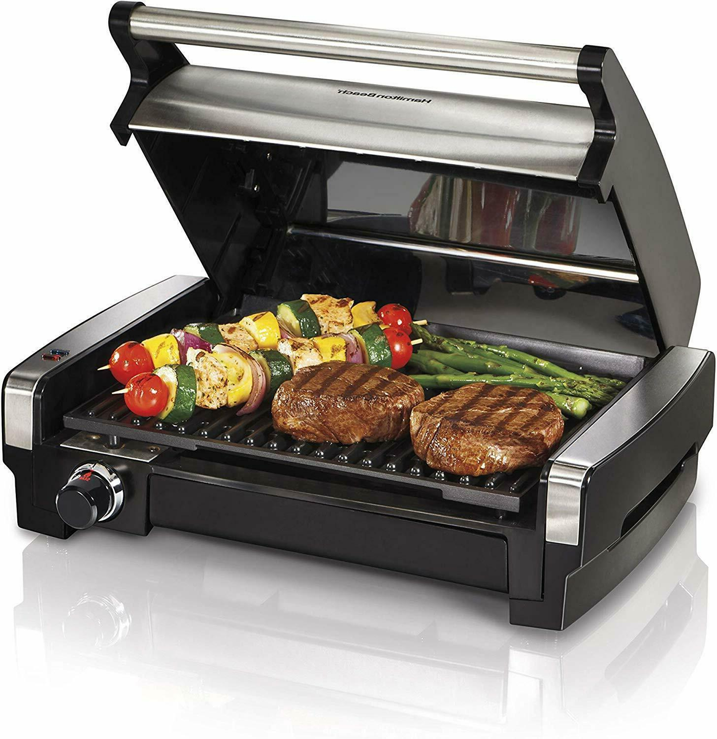 electric indoor grill griddle searing smokeless removable