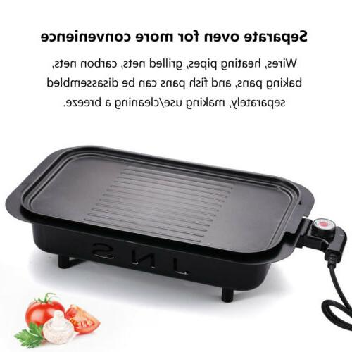 Electric Grill Portable Non-Stick BBQ Griddle Indoor &