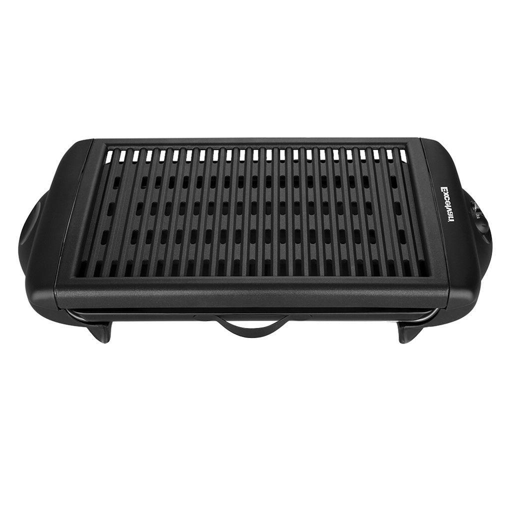 Excelvan Electric Barbecue Grill Griddle Indoor BBQ Smokeless 1120W US