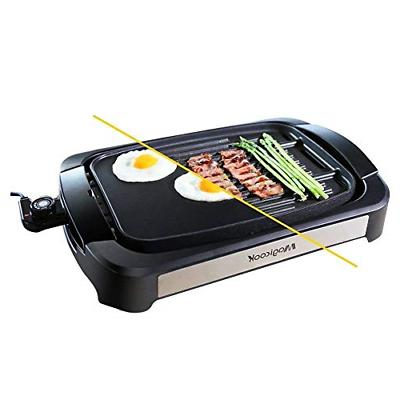 electric reversible grill griddle with removable nonstick