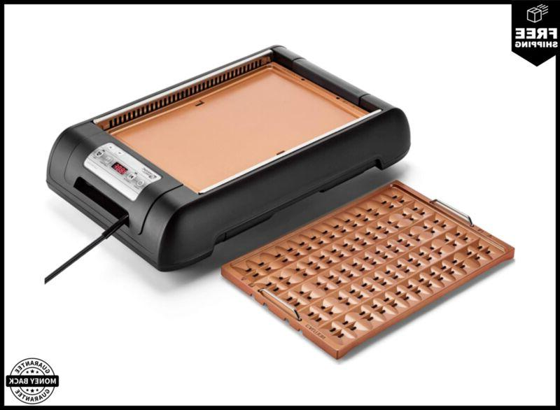 electric smokeless grill and griddle pan digital