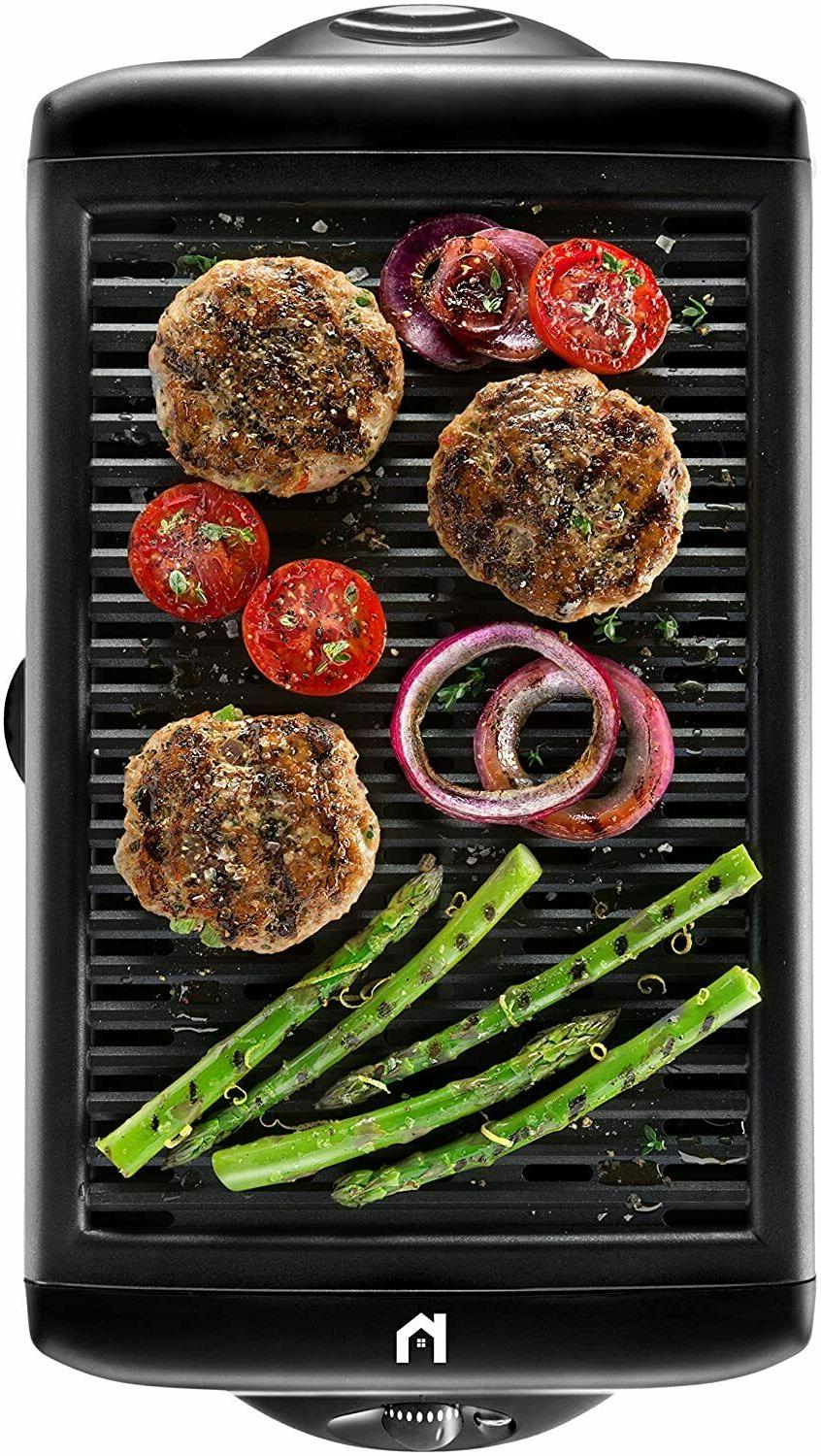 electric smokeless indoor grill large non stick