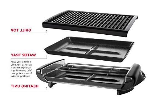 Chefman Smokeless Grill w/ Non-Stick Adjustable from Warm to Customized Grilling, Dishwasher Removable Tray, Black