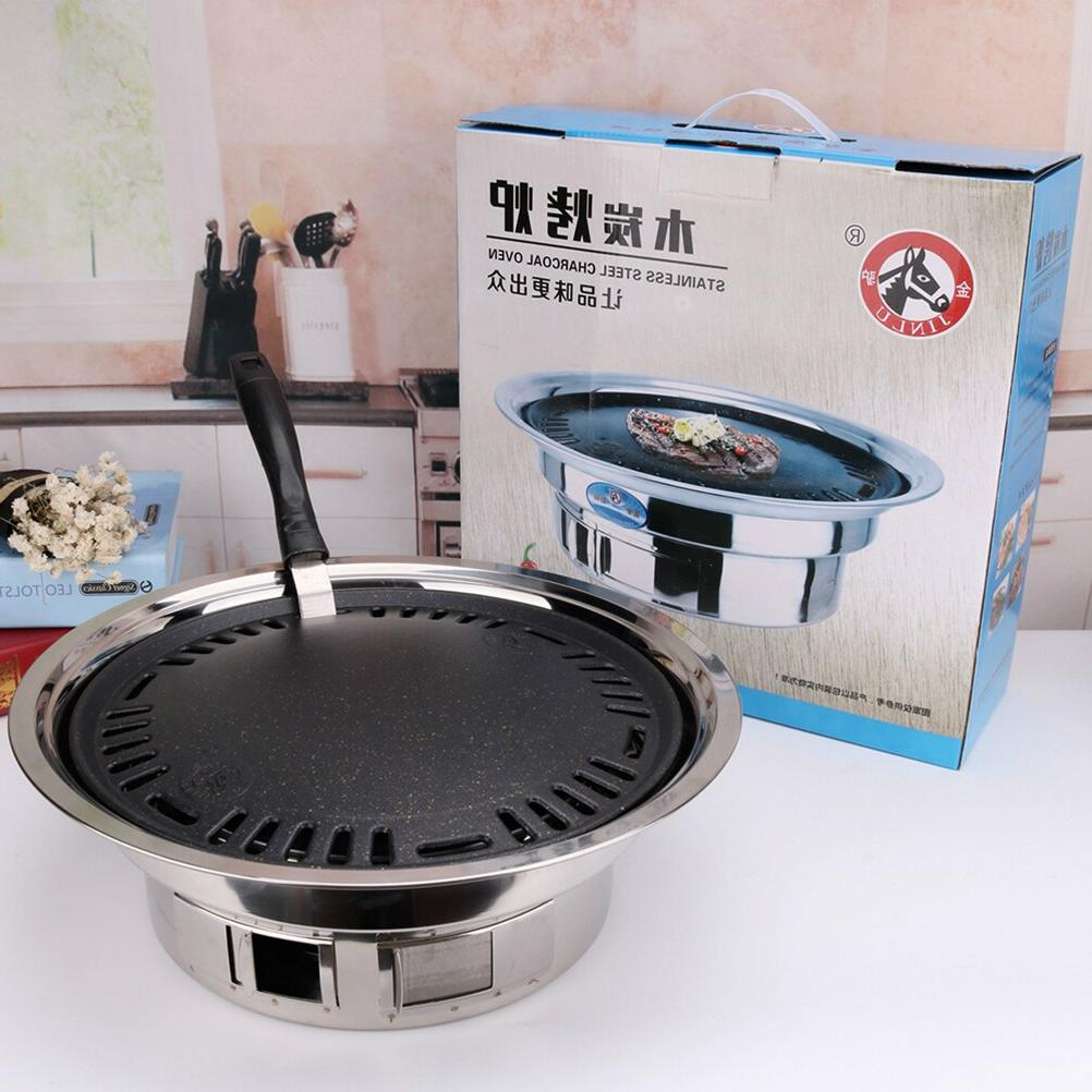 <font><b>Stainless</b></font> <font><b>Steel</b></font> Charcoal Self-Service Barbecue BBQ Tray Outdoor Party