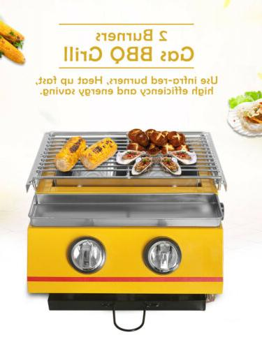 Gas BBQ Barbecue Griddle Top Smokeless Kitchen
