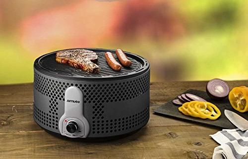 Gourmia GBQ330 Electric Grill Great Camping - 90% Smoke Reduction Barbecue Removable Travel Briefcase
