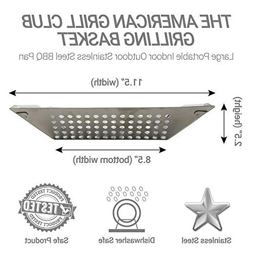The Grilling Basket Stainless Indoor Outdoor BBQ Barbeque or or Camping Propane Gas Charcoal