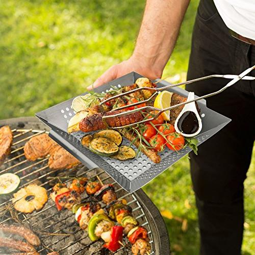 The American Club Grilling Large Stainless Indoor Outdoor Barbeque Veggies, Charbroil Fish Propane Gas Charcoal
