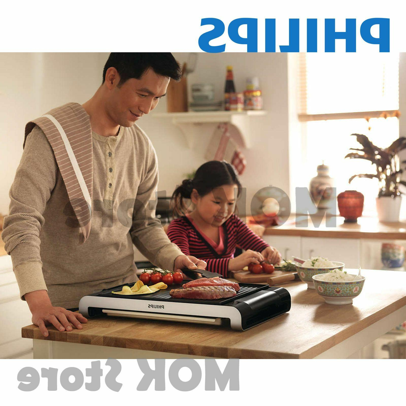 PHILIPS HD4417 Compact Electric Table Ribbed Plate 220V For BBQ