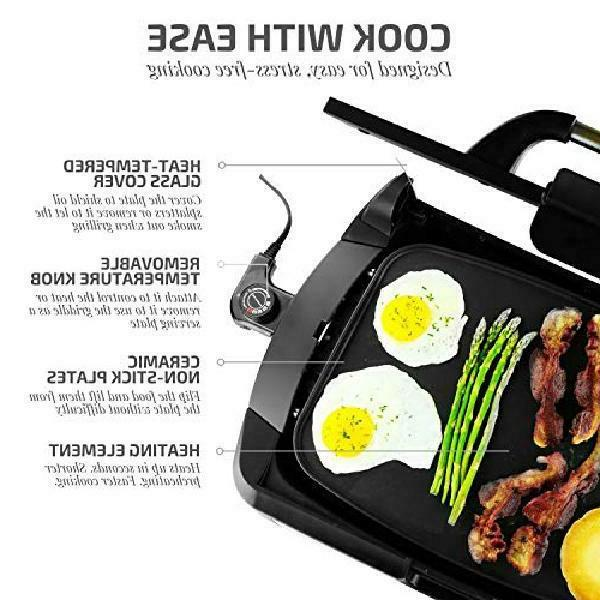 INDOOR GRILL GRIDDLE BBQ Portable Black