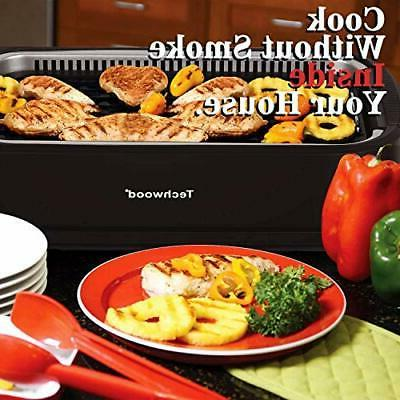 Indoor Smokeless Grill, Electric BBQ Grill with Glass Lid,