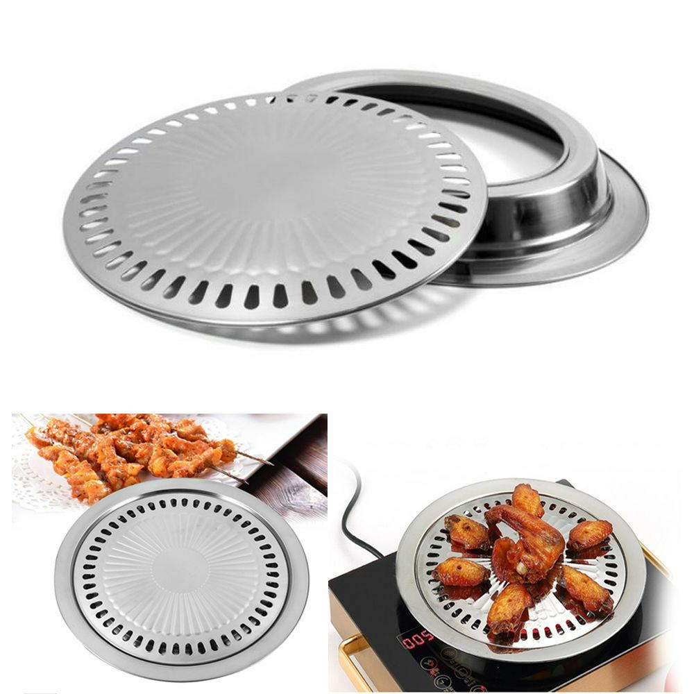 Indoor Outdoor BBQ Smokeless Stovetop Non-stick Pan Round Grill