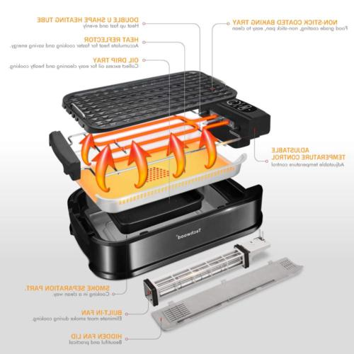 Techwood Smokeless Grill Electric Non-stick Indoor/Outdoor,