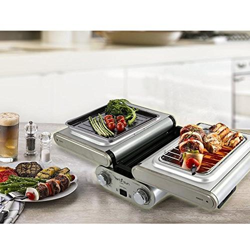 NutriChef Fold-Out Electric with Vertical Grill Rack | Skewers Tabletop | Teflon Tray Drip | Timer - Max 464F