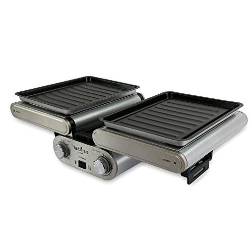 NutriChef Cooking Grill Fold-Out with Vertical | Skewers | Teflon Drip Pan Timer - Max 464F