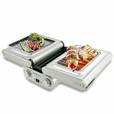 nutrichef cooking grill fold out indoor outdoor electric gri