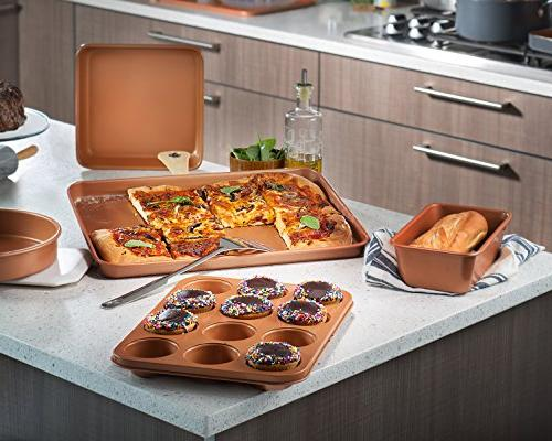 Gotham All in Cookware + Bakeware Set with Ti-Cerama Coating – Stock Pan with Cookie Sheet Baking Pans