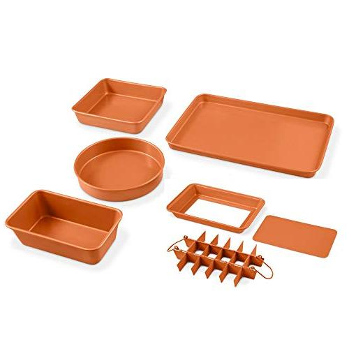 Gotham Steel 20 Piece All in One Kitchen Cookware with Non-Stick Copper Coating Stock Pan with Cookie Pans