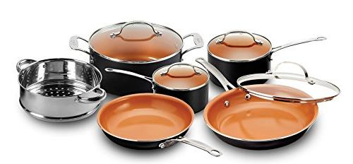 Gotham Steel All in Kitchen Cookware + Bakeware with Non-Stick Copper Coating Includes Skillets, Stock Deep Pan with Fry Cookie Sheet and Pans