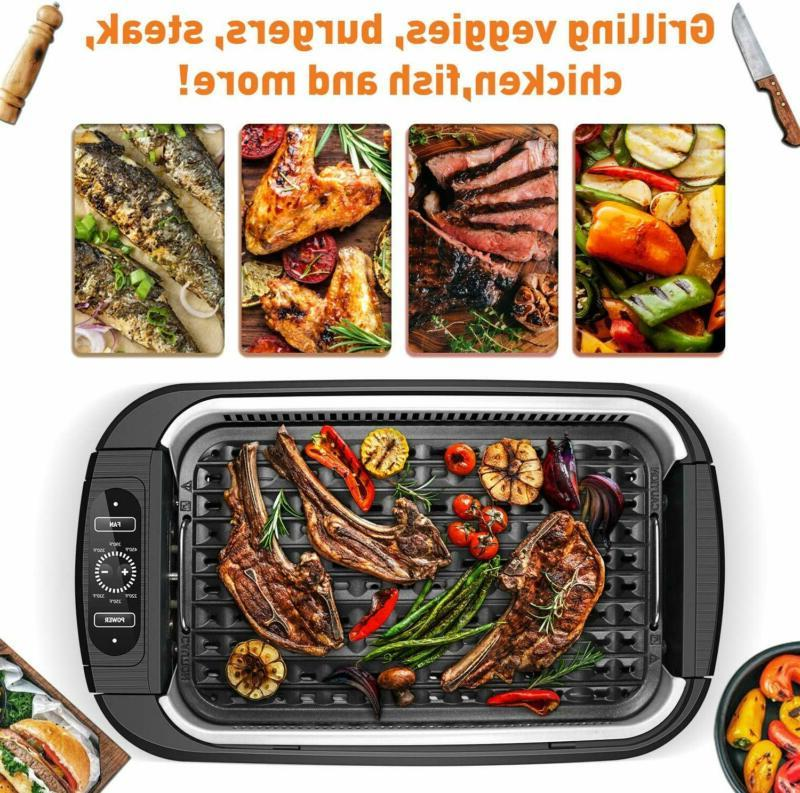 Portable Electric Indoor Grill Non-Stick BBQ Searing Griller