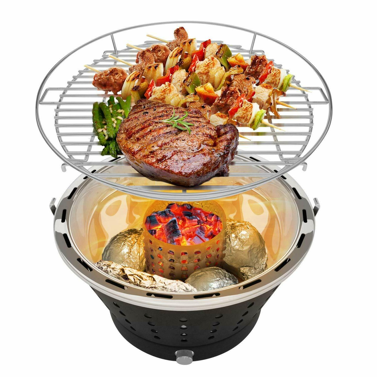 Portable Smokeless Grill, Stainless with